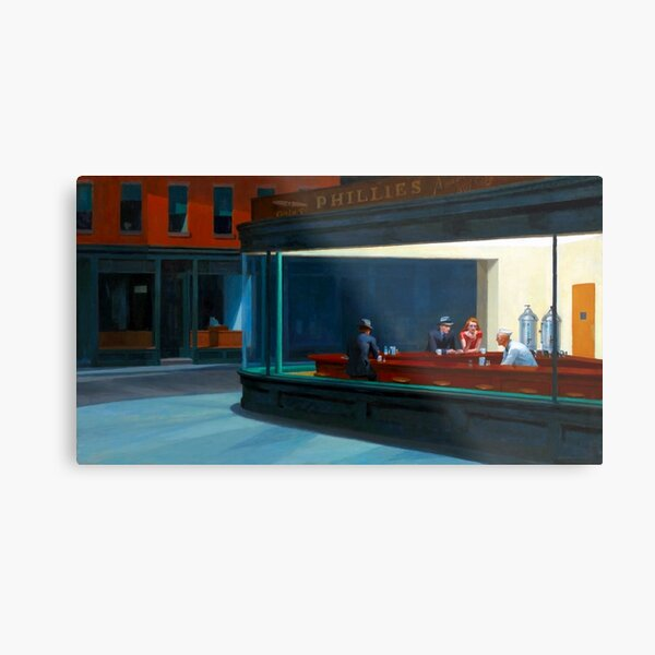 """Nighthawks"" by Edward Hopper (1942) Metal Print"