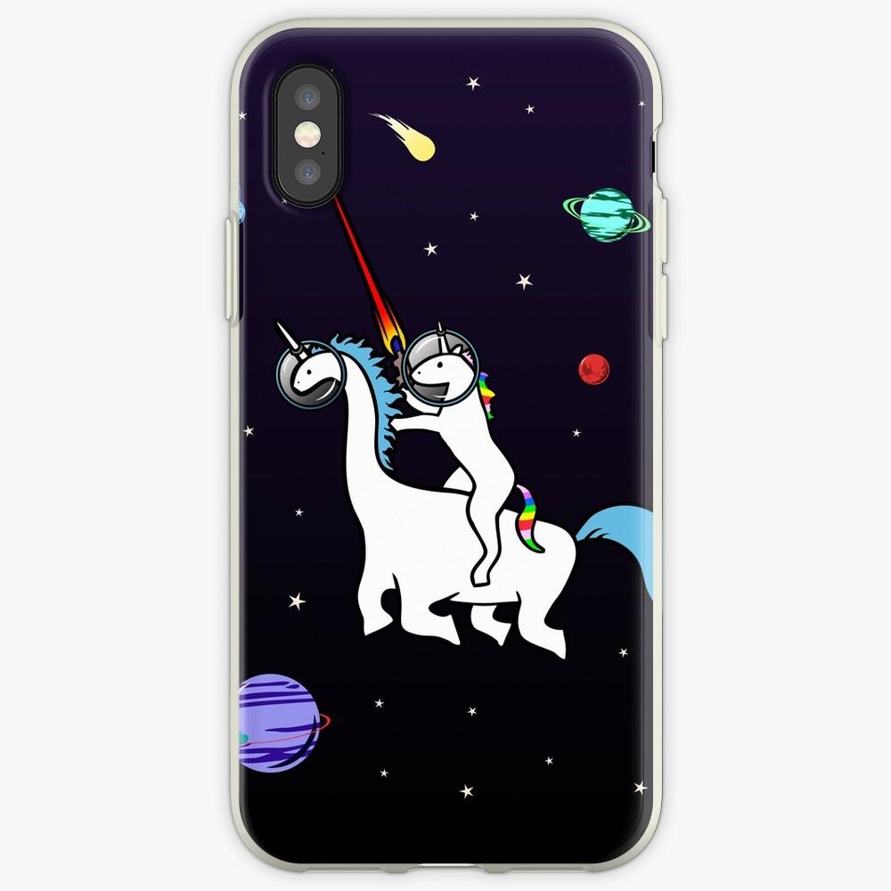Unicornio montando Dinocorn en el espacio Funda y vinilo para iPhone