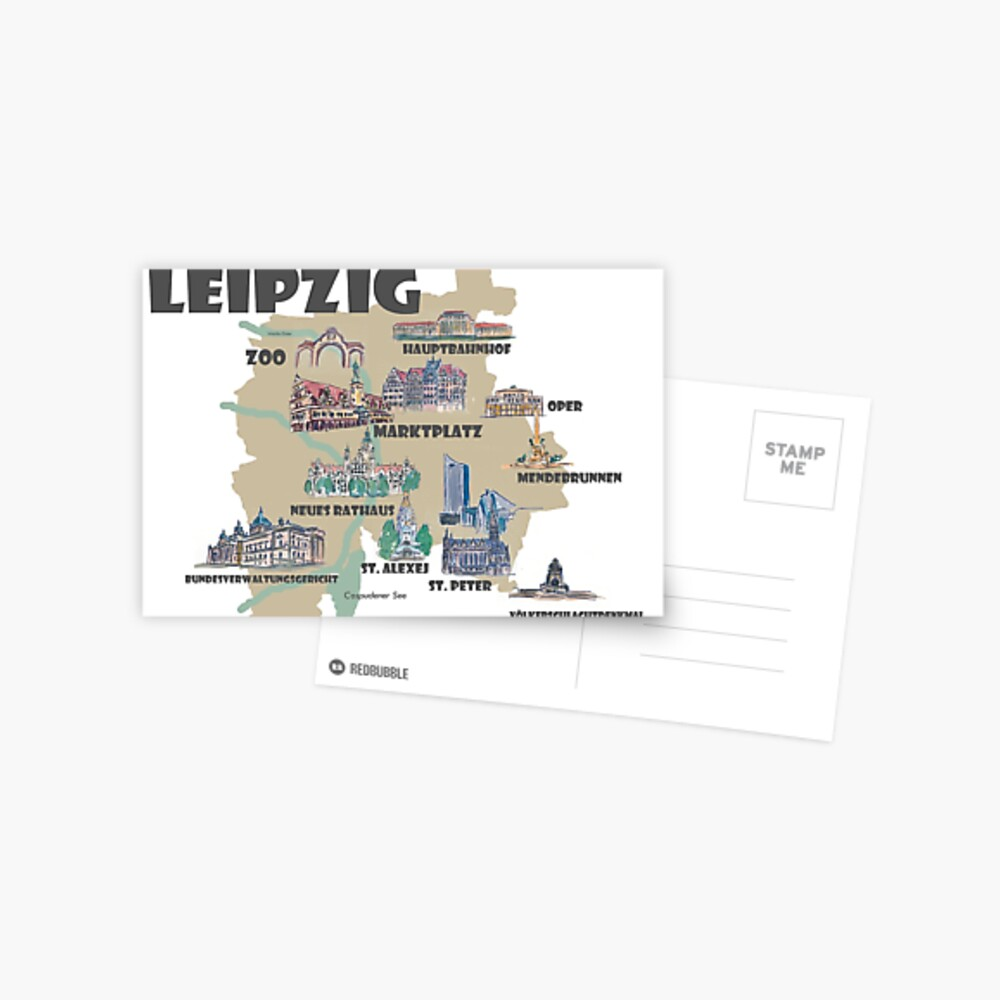 Leipzig Germany Retro Map With Attractions Greeting Card By Artshop77 Redbubble