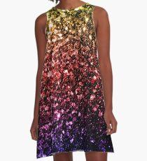 Beautiful rainbow yellow red purple sparkles A-Line Dress