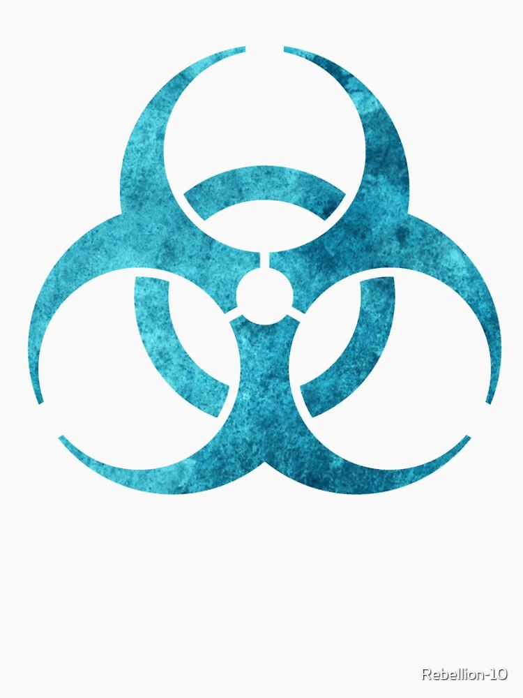 Blue Biohazard Symbol Womens Premium T Shirt By Rebellion 10