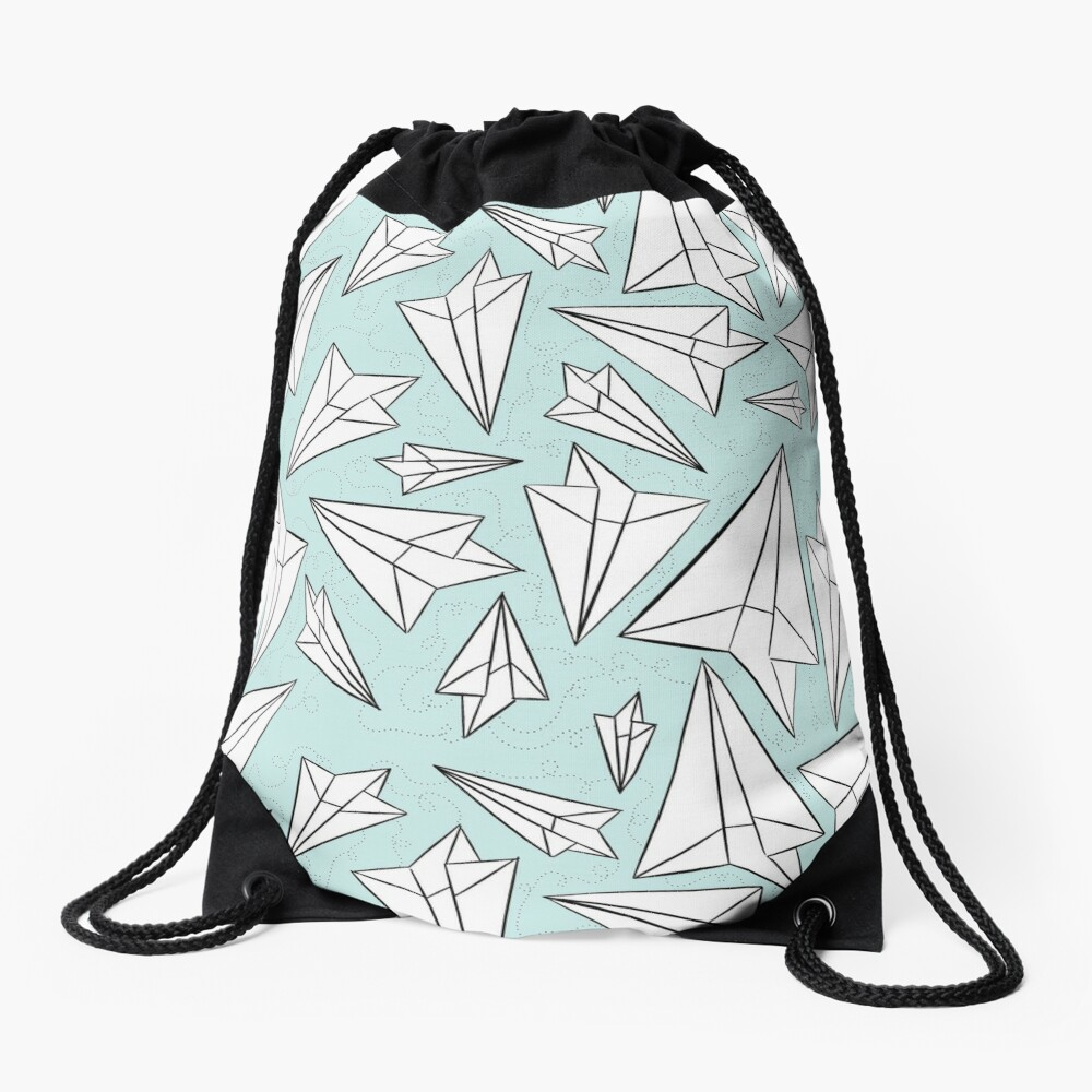 Paper Airplanes Mint Drawstring Bag