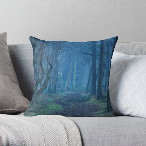Entering the mysterious world of the blue forest Throw Pillow