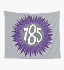 Hand Drawn Kansas Sunflower 785 Area Code Purple Wall Tapestry