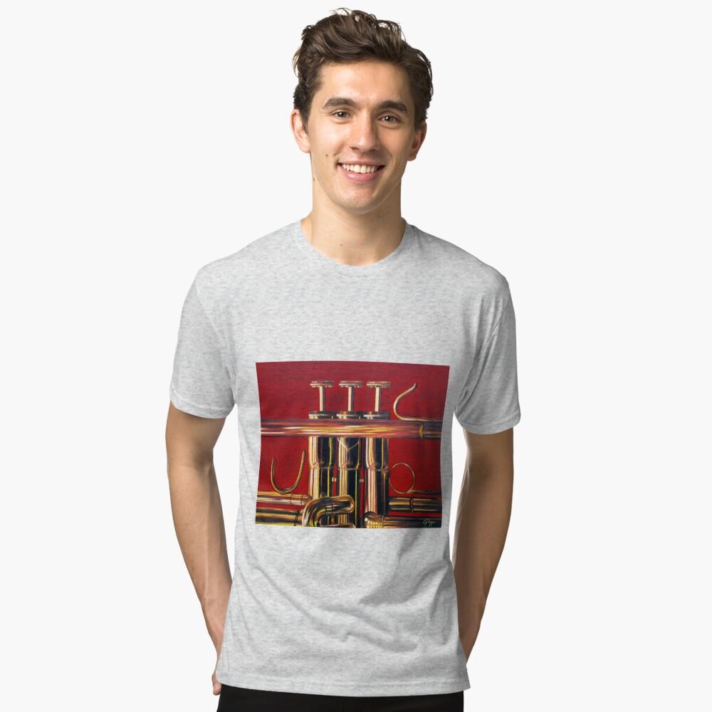 Trumpet in Red Tri-blend T-Shirt