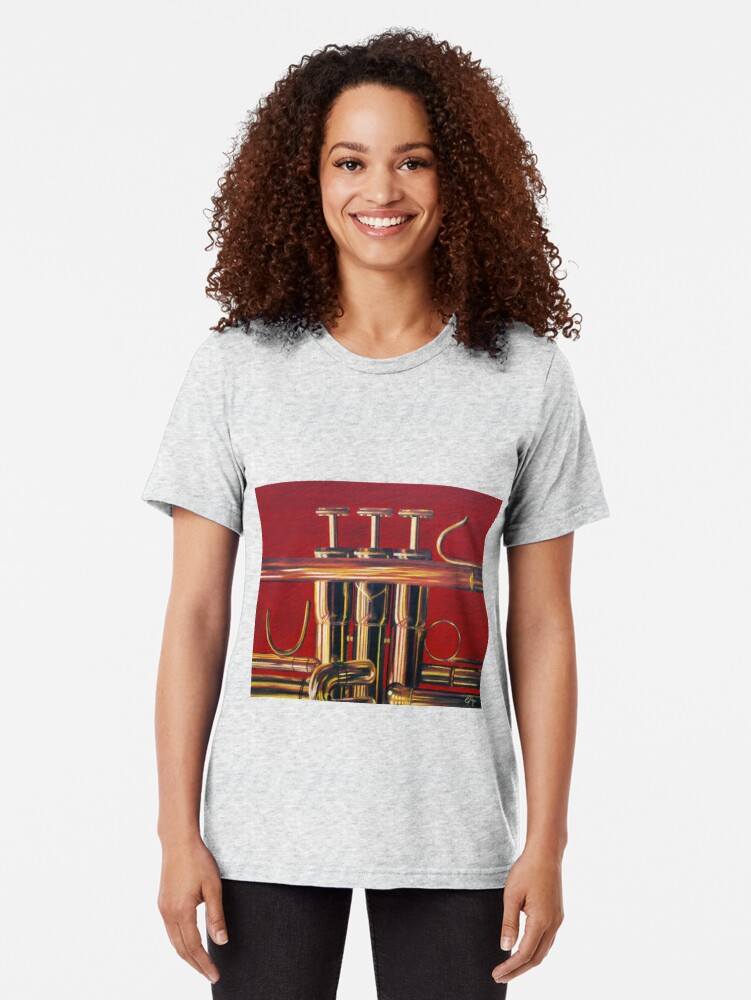 Alternate view of Trumpet in Red Tri-blend T-Shirt