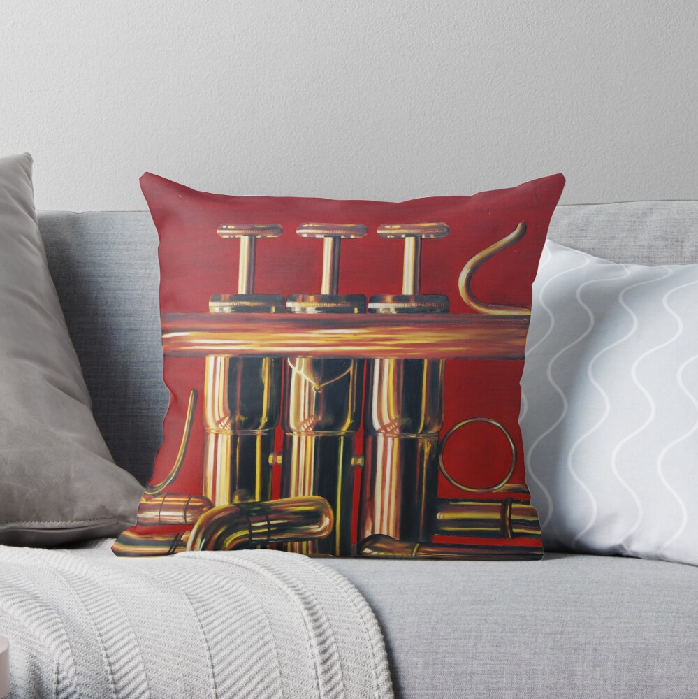 Trumpet in Red Throw Pillow