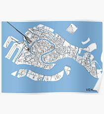 Venice minimalist line map Poster