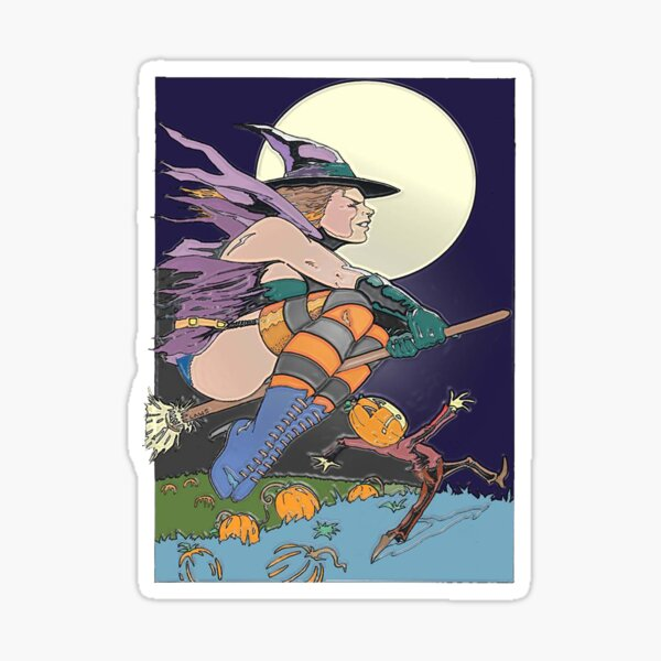 Witch Flying Across the Moon Sticker