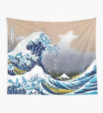 Classic Japanese Great Wave off Kanagawa by Hokusai Wall Tapestry Vectorized HD High Quality Wall Tapestry