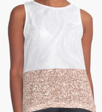 White Marble Dipped in Rose Gold Glitter Contrast Tank