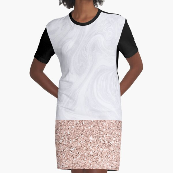 Modern White Marble with Rose Gold Glitter Texture Graphic T-Shirt Dress
