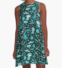 Dino Cutie Pattern in Teal A-Line Dress