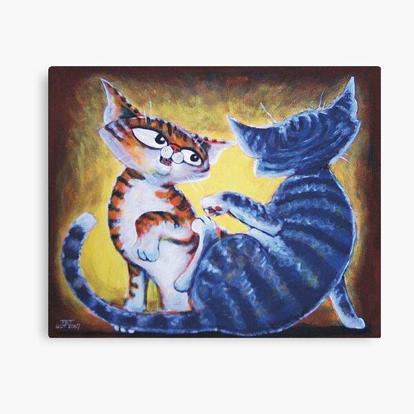 Two Cat, Feline Fun - Art by TET Canvas Print