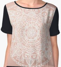 White Mandala on Rose Gold Chiffon Top
