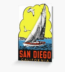 San Diego California Vintage Travel Decal Greeting Card