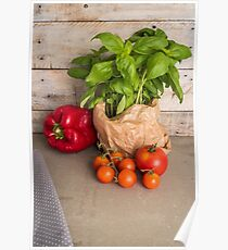 Fresh basil and other ingredients for Italian cuisine. Cherry tomatoes, basil and red pepper Poster