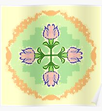 Blue/Pink tulip design in warmer shades Poster