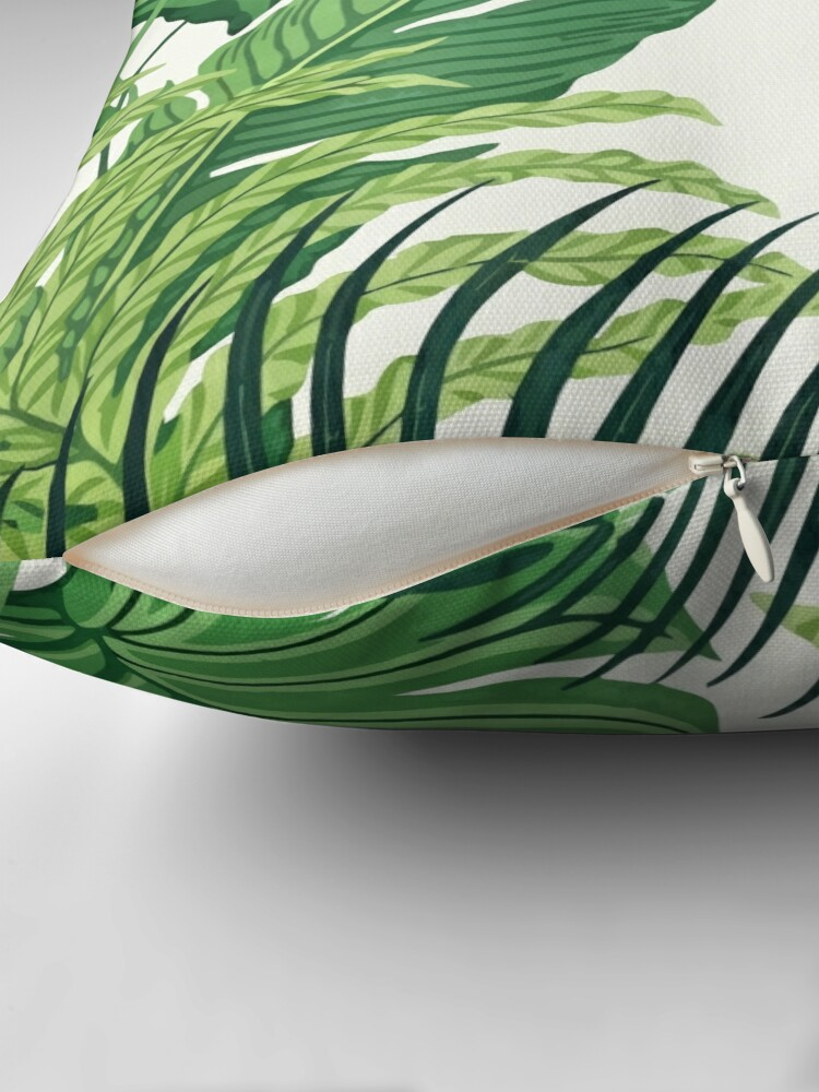 Alternate view of Green tropical leaves Throw Pillow