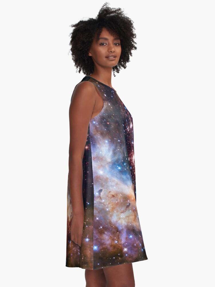 Alternative Ansicht von Weltraum-Nebel-Galaxie A-Linien Kleid