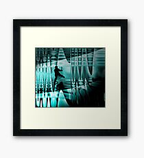Climbing the frozen waterfall Framed Print