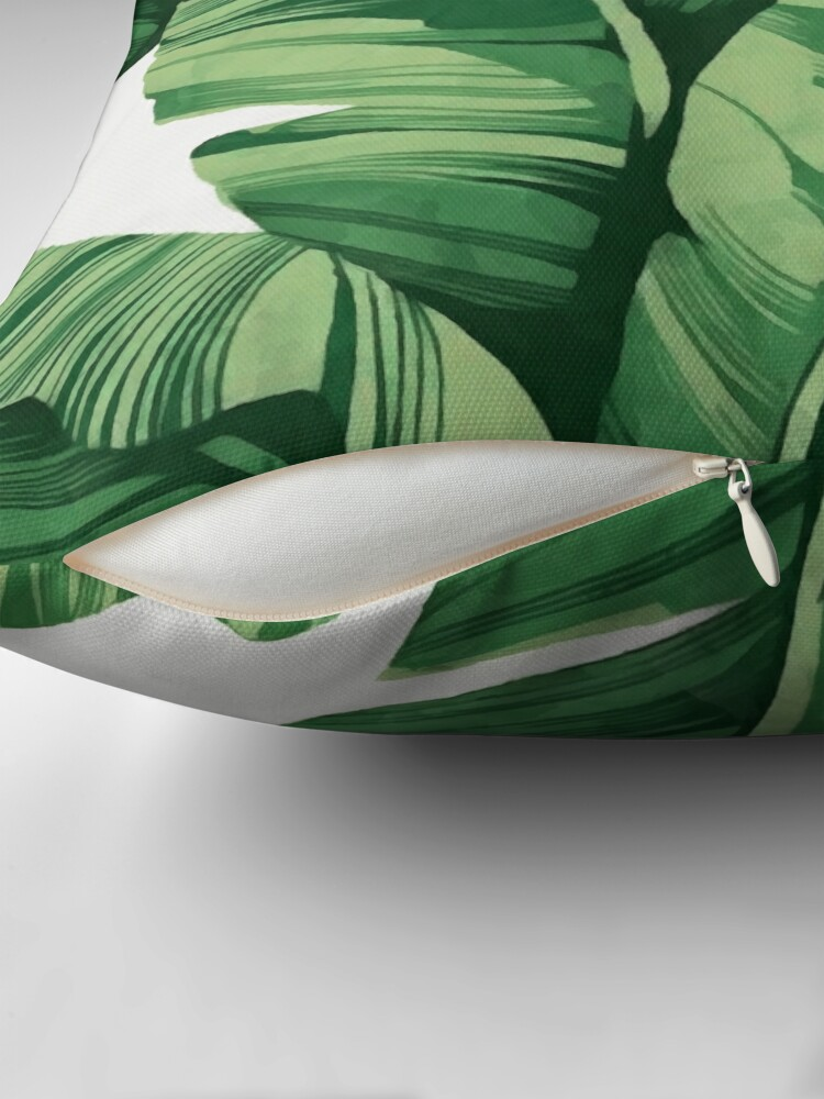 Alternate view of Tropical banana leaves Throw Pillow