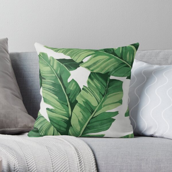 Tropical banana leaves Throw Pillow