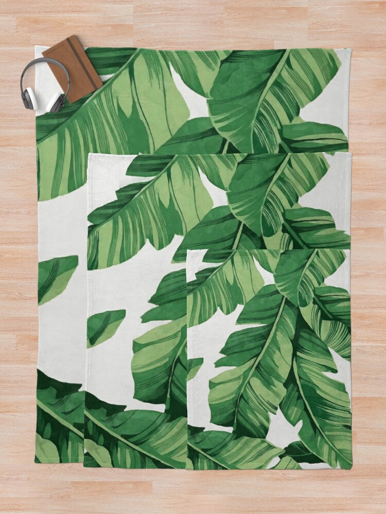 Alternate view of Tropical banana leaves Throw Blanket
