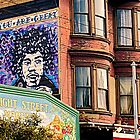 Victorian Building on Haight St. with Jimi Hendrix Mural by Buckwhite