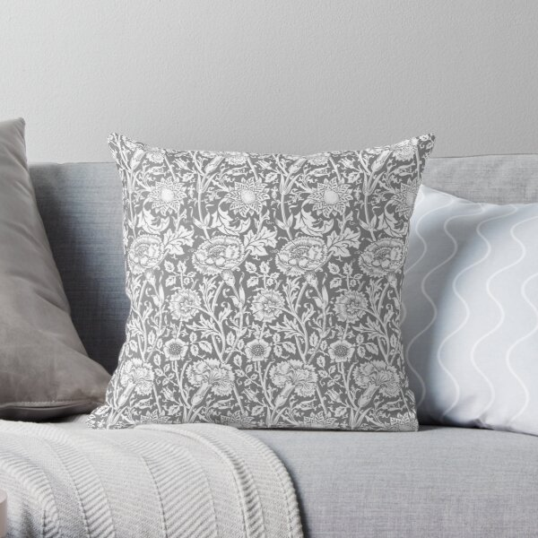 William Morris Carnations | Grey and White Floral Pattern | Flower Patterns | Vintage Patterns | Classic Patterns | Throw Pillow