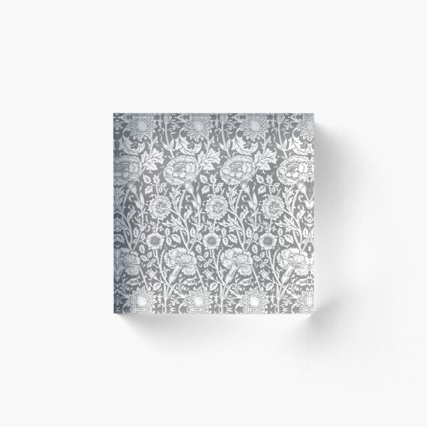 William Morris Carnations | Grey and White Floral Pattern | Flower Patterns | Vintage Patterns | Classic Patterns | Acrylic Block