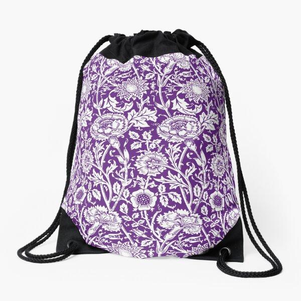 William Morris Carnations | Purple and White Floral Pattern | Flower Patterns | Vintage Patterns | Classic Patterns | Drawstring Bag