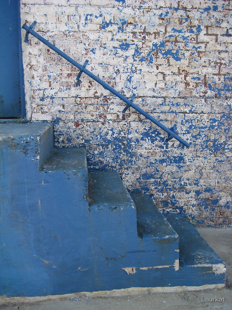 blue brick wall with stairs by Laurkat