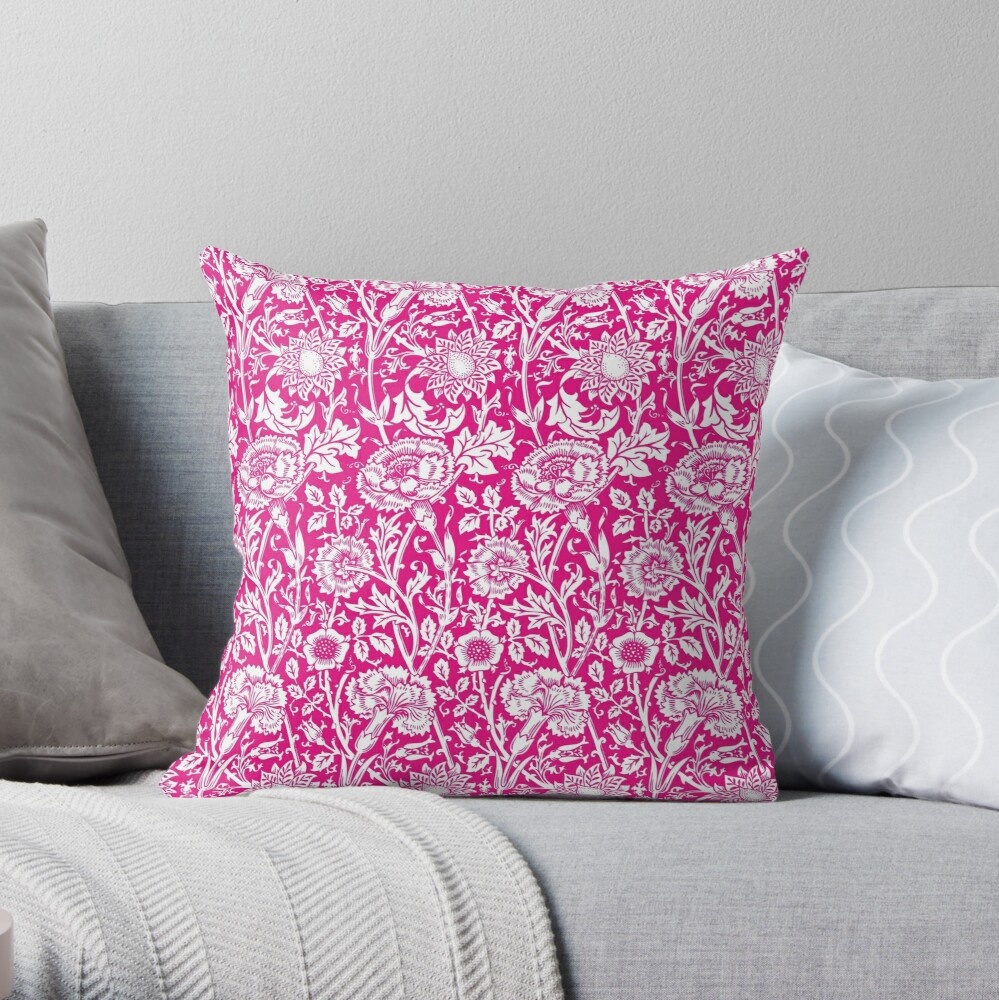 William Morris Carnations Hot Pink And White Floral Pattern