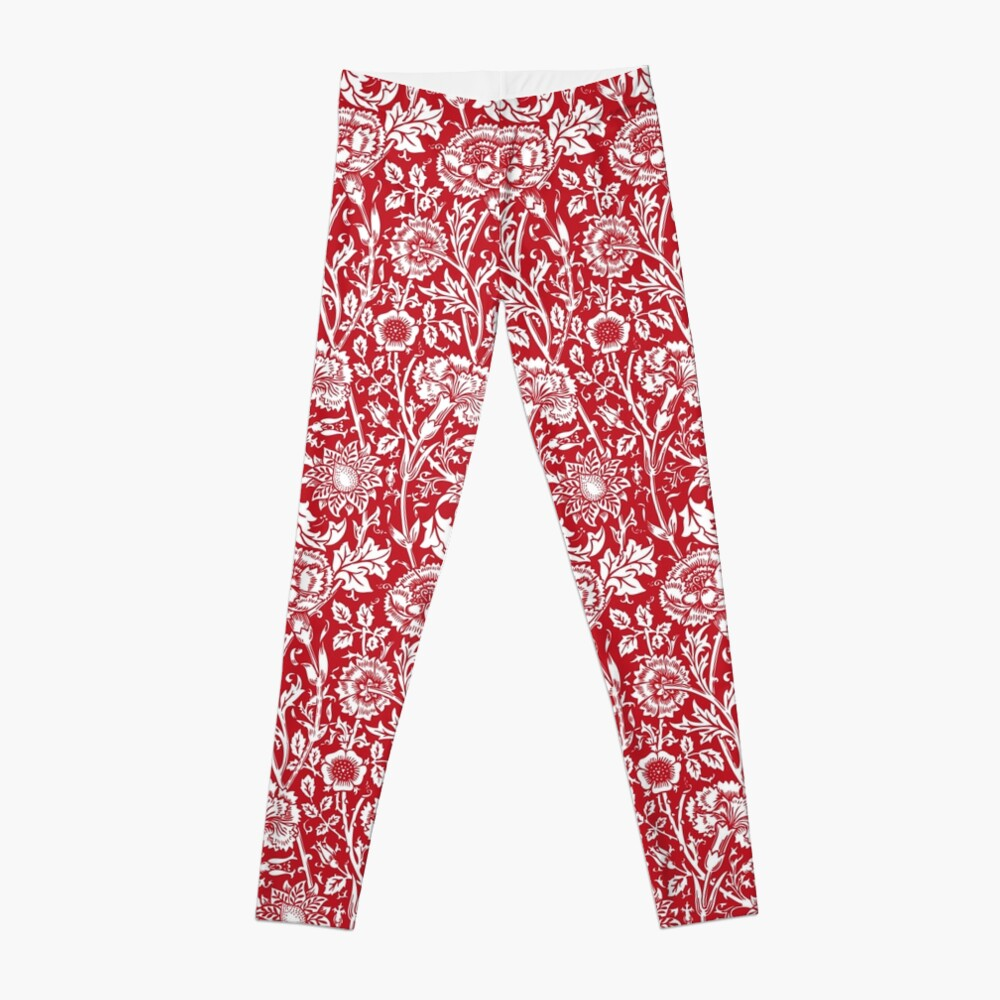 William Morris Carnations | Red and White Floral Pattern | Flower Patterns | Vintage Patterns | Classic Patterns | Leggings