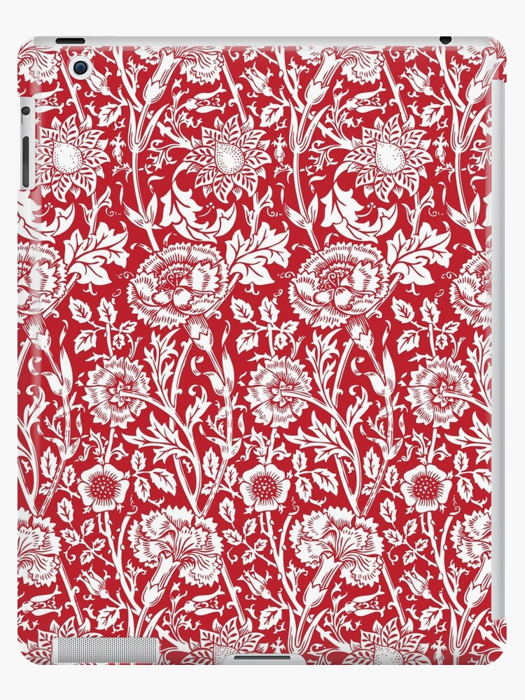 William Morris Carnations Red And White Floral Pattern Flower Patterns Vintage Patterns Classic Patterns Ipad Case Skin By Eclecticatheart
