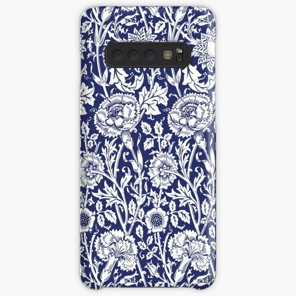 William Morris Carnations   Navy Blue and White Floral Pattern   Flower Patterns   Vintage Patterns   Classic Patterns   Samsung Galaxy Snap Case