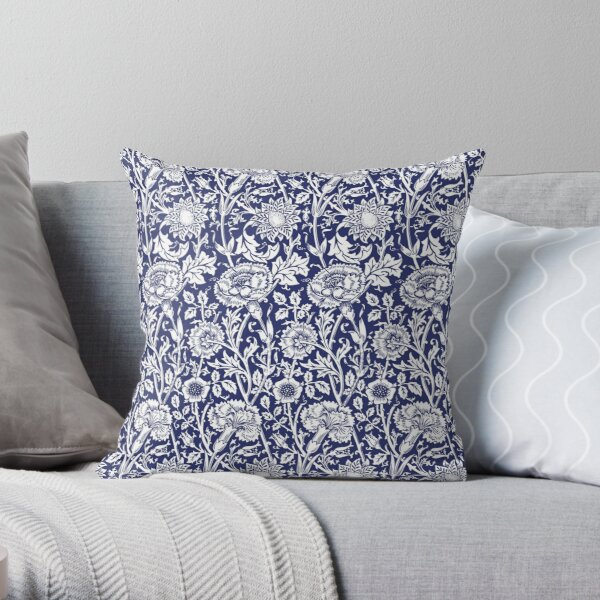William Morris Carnations   Navy Blue and White Floral Pattern   Flower Patterns   Vintage Patterns   Classic Patterns   Throw Pillow