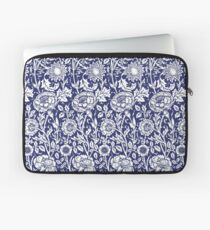 William Morris Carnations | Navy Blue and White Floral Pattern Laptop Sleeve