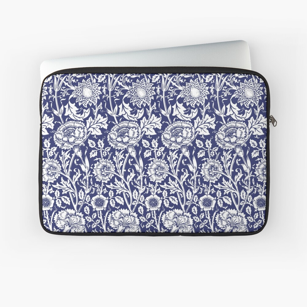 William Morris Carnations | Navy Blue and White Floral Pattern | Flower Patterns | Vintage Patterns | Classic Patterns | Laptop Sleeve