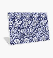 William Morris Carnations | Navy Blue and White Floral Pattern Laptop Skin