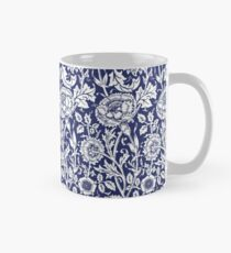 William Morris Carnations | Navy Blue and White Floral Pattern Mug