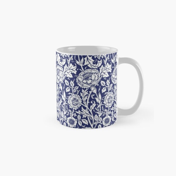 William Morris Carnations | Navy Blue and White Floral Pattern | Flower Patterns | Vintage Patterns | Classic Patterns | Classic Mug