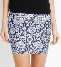 William Morris Carnations | Navy Blue and White Floral Pattern Mini Skirt