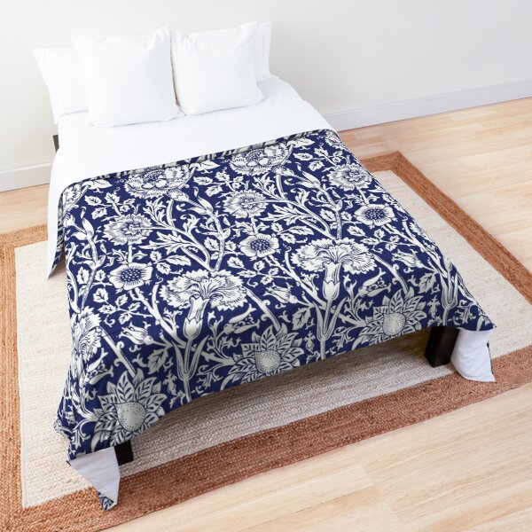 William Morris Carnations | Navy Blue and White Floral Pattern | Flower Patterns | Vintage Patterns | Classic Patterns | Comforter