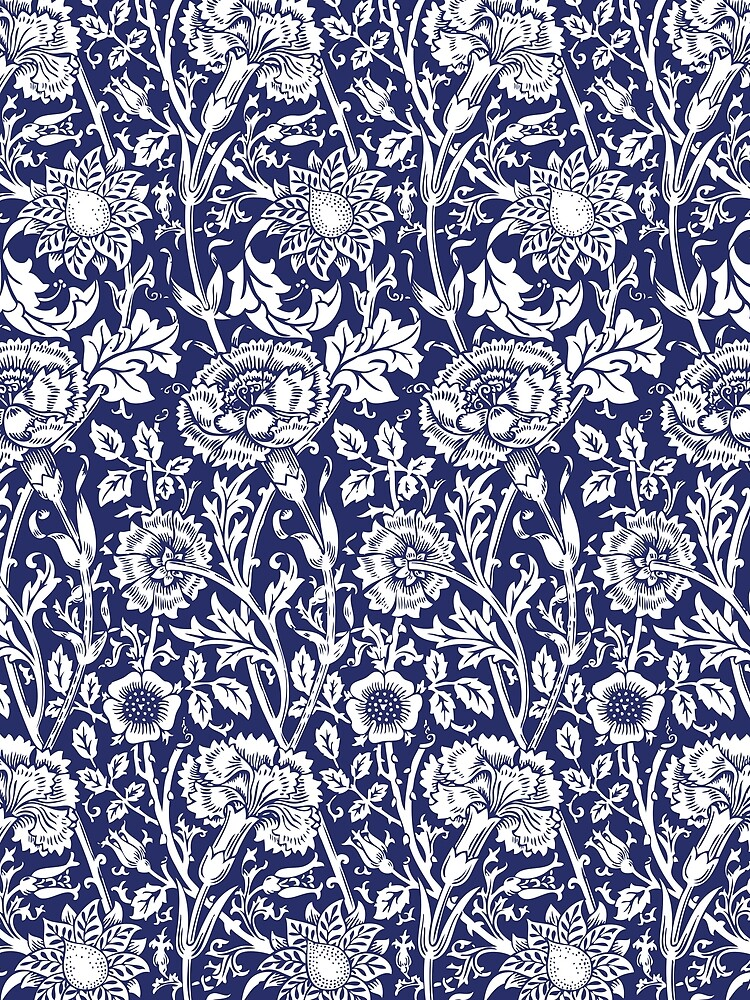 William Morris Carnations | Navy Blue and White Floral Pattern | Flower Patterns | Vintage Patterns | Classic Patterns | by EclecticAtHeART