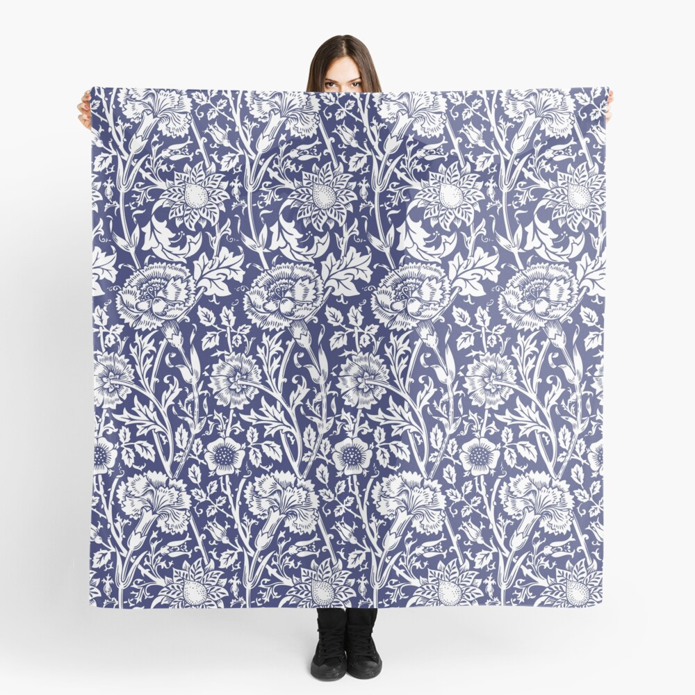 William Morris Carnations | Navy Blue and White Floral Pattern | Flower Patterns | Vintage Patterns | Classic Patterns | Scarf