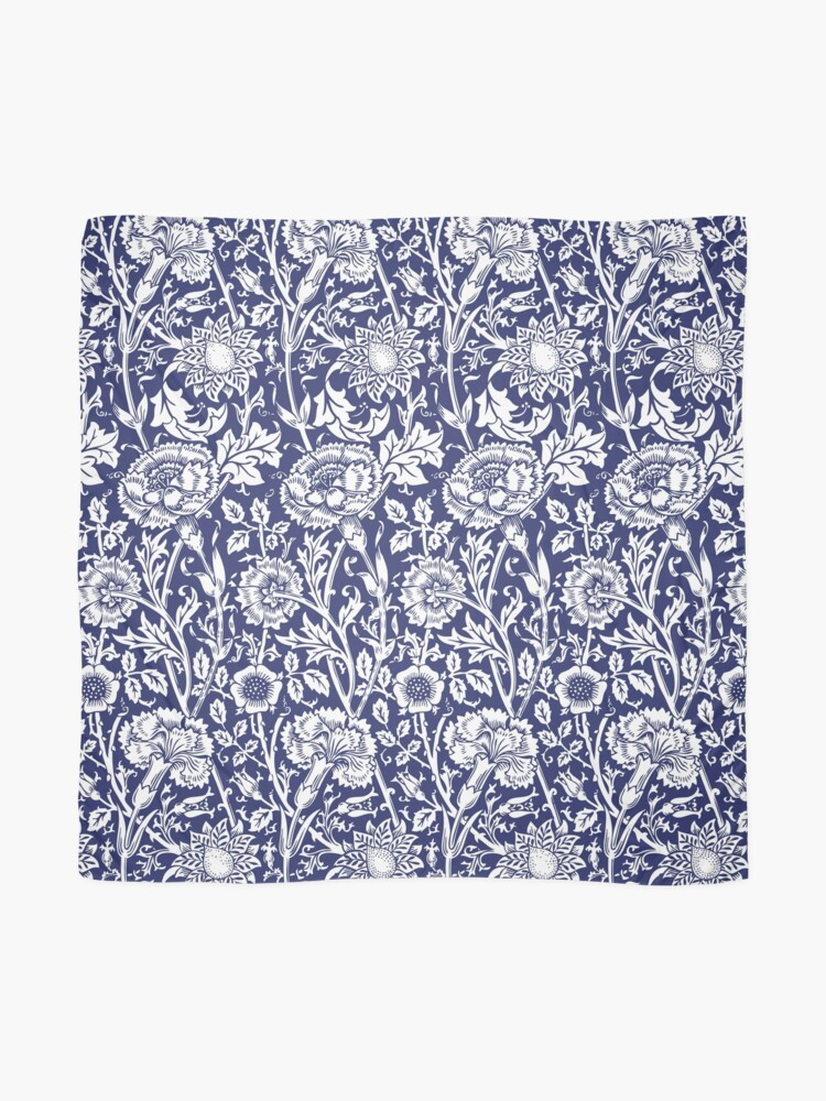 Alternate view of William Morris Carnations | Navy Blue and White Floral Pattern | Flower Patterns | Vintage Patterns | Classic Patterns | Scarf