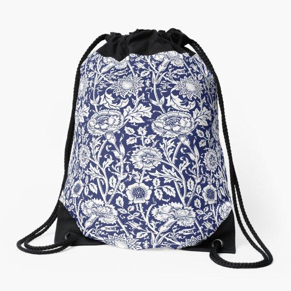 William Morris Carnations | Navy Blue and White Floral Pattern | Flower Patterns | Vintage Patterns | Classic Patterns | Drawstring Bag