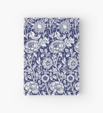 William Morris Carnations   Navy Blue and White Floral Pattern Hardcover Journal